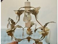 GOLD LEAF CHANDLIER CEILING LIGHT FITTING, DROPPERS, FULLY WIRED, ROSE, SHABBY CHIC, VINTAGE STYLE