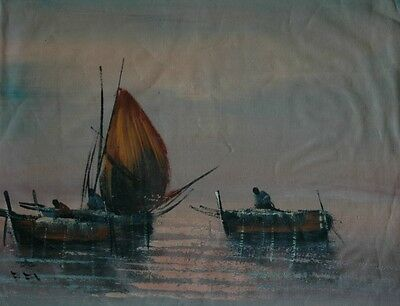 Original Vintage Oil on Canvas Sailboats on Water at Dawn / Dusk Beautiful Color