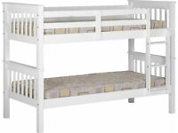 Solid Wood White Bunk Bed BRANDNEW Flat Packed 3ft Single Twin Sleeper Fast delivery