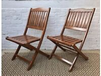 Pair of Folding Wooden Garden Chairs #205