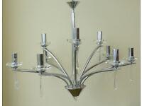 Large Crystal & Chrome Chandelier Ceiling Light