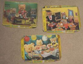 3 Vintage Teddy Bears Wooden Jigsaws