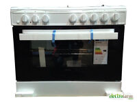 Servis SD900W 90cm Dual Fuel Range Cooker in White/Large Single Electric Oven