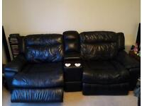 Electric Recliner Black Leather Sofa & Swivel Chair