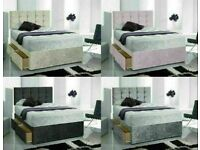Instant Delivery Bed / Matching Button/diamante Headboard Single Double King Superking 3ctyv