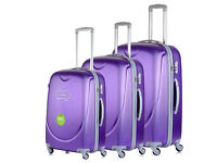 New Purple 4 Wheel Luggage Suitcase Trolley Holiday Travel Bag Case 3 Piece Set Hard Shell Suitcases