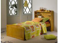 3FT Single Honey Bookcase Bed in Brazilian Pine, New.