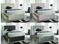 Instant Delivery Bed / Matching Button/diamante Headboard Single Double King Superking 9xq
