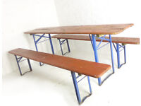 Vintage Industrial German Beer Hall Bench & Table Set DELIVERY POSS Garden Picnic Outdoor Kitchen