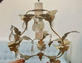GOLD LEAF CEILING CHANDELIER LIGHT, ORNATE, DROPPERS, VINTAGE SHABBY CHIC