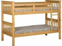 Splitable into two-Single Wooden Bunk Bed Frame in White and Oak Color Options