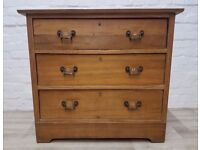Victorian Stripped Pine Chest Of Three Drawers (DELIVERY AVAILABLE FOR THIS ITEM OF FURNITURE)