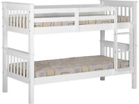 Single Bed Solid Pine White 3ft Bunk Bed BRANDNEW Flat Pack Fast Delivery