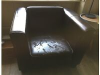 Two seater and armchair Italian leather