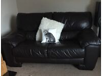 2 seater leather sofa and matching storage stool