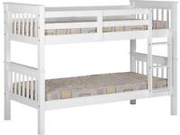 WHITE OAK AND GREY - BRAND New white colour Wooden Bunk Bed available for fast delivery now for sale  Sutton, London