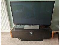 TV unit black glass and walnut -