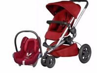 Quinny buzz pushchair with maxi cosy car seat and mothercare crib only£200