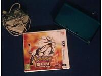 Neon blue 3DS with Pokemon sun and charger