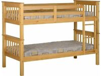 🎉Supereme Discount🎊Single Wooden Bunk Bed Frame in White and Oak Color Options WIth Mattresess