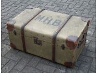Fabulous leather cornered vintage railway trunk in lovely condition