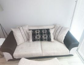 SCS Grey & Black sofa and cuddle chair