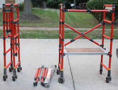 Geniegenex Fiberglass Scaffolding - 2 Sections Wheelsoutriggerswalkboard