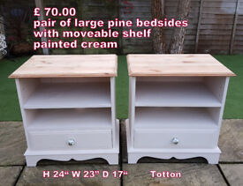Pair of large pine bedsides