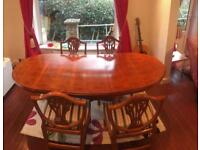 Classy Yew extendable dining table & 4 chairs
