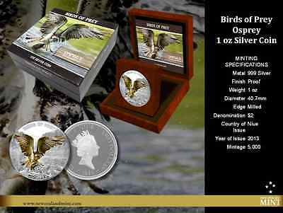 2013 New Zealand Mint Birds of Prey - Osprey 1 oz 99.9% Silver Proof Coin