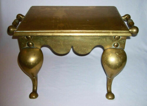 "Antique Victorian Solid Brass Kitchen HEARTH-FIREPLACE ""FOOTMAN TRIVET""~ England"