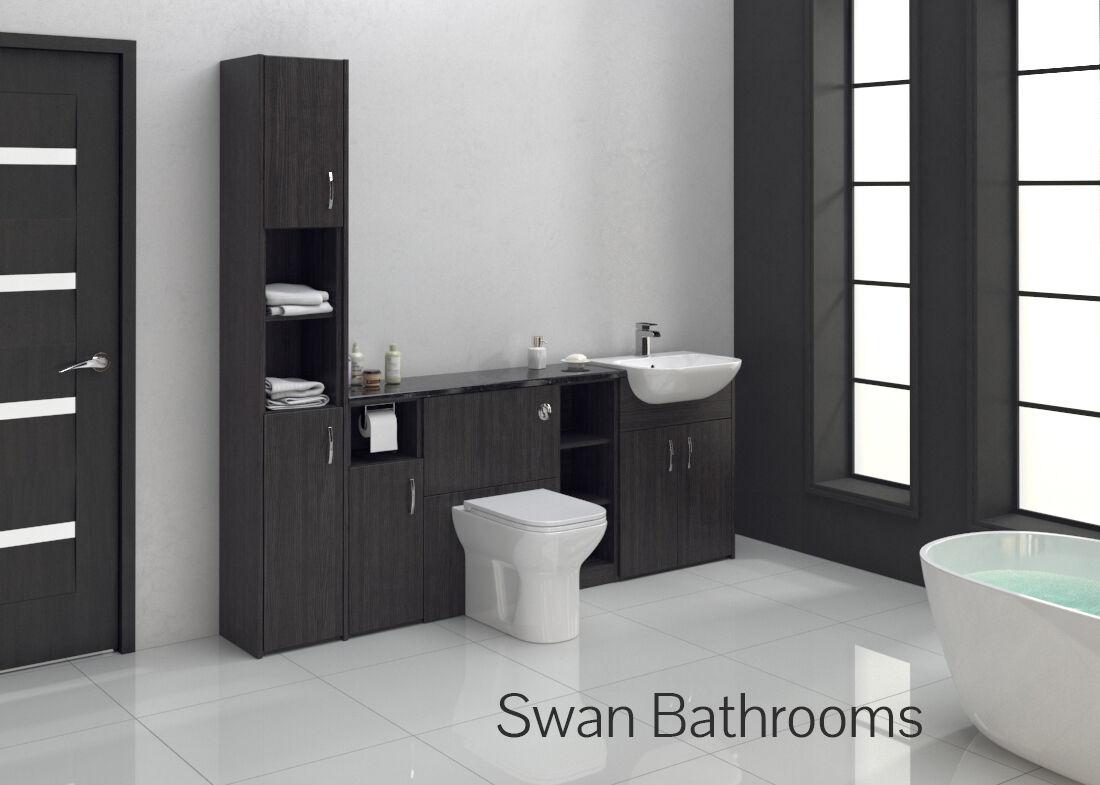 Hacienda Black Bathroom Ed Furniture 2100mm With Tall Unit