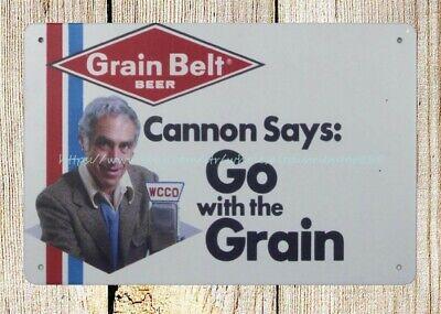 outdoor decor Steve Cannon for Grain Belt beer, 1978 metal tin sign