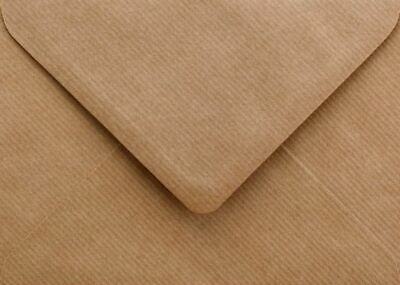 Ribbed Envelopes C6 Brown Recycled 100gsm Gummed Flap Pack of 50 by Cranberry