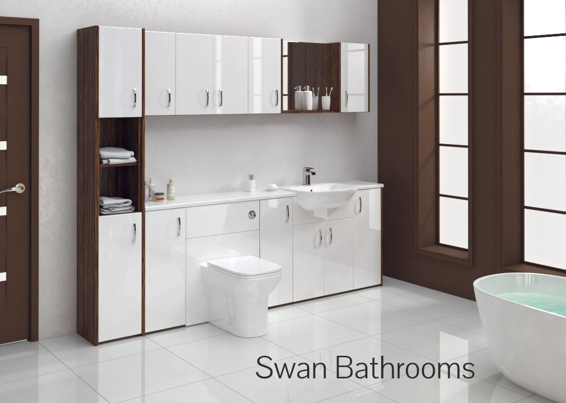 olivewood white gloss bathroom fitted furniture 2400mm. Black Bedroom Furniture Sets. Home Design Ideas
