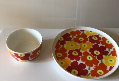 Marimekko Child's Ceramic Bowl And Plate Oiva Mini Unikko