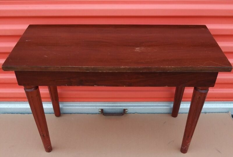 Vintage Antique GRINNELL BROS Art Deco Piano Organ Bench W Storage Solid Wood