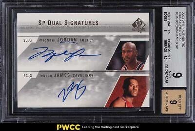 2003 SP Authentic Dual Michael Jordan & LeBron James ROOKIE RC AUTO BGS 9 MINT