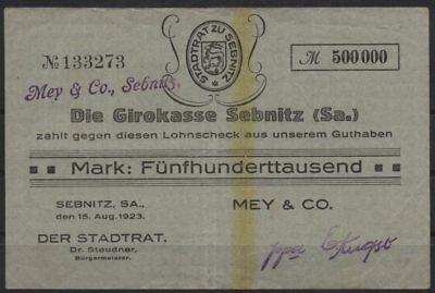 [21141] - Notgeld SEBNITZ, Mey & Co. auf Girokasse Sebnitz, 500 Tausend Mark, 15