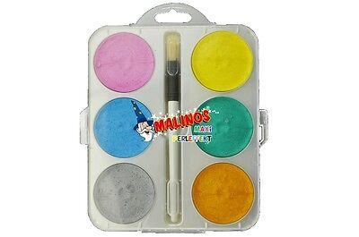 Malinos Perleffekt Wasserfarben Malkasten mit Perlmuttfarben + Pinsel
