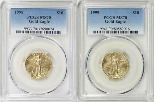 1998 & 1999 $10 GOLD EAGLE PCGS MS70 LOW POP 58 & 72 CINS * Low Mintage