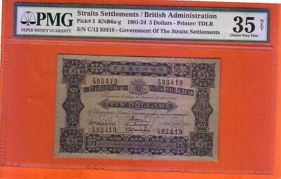 1921 Straits Settlements $5 note .PMG 35 VF NET
