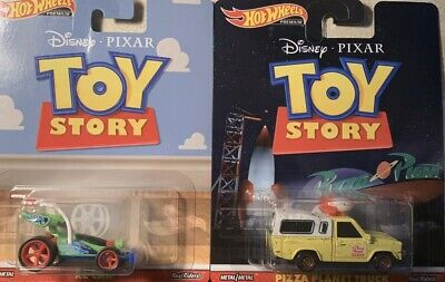 2019 HOT WHEELS DISNEY TOY STORY LOT OF 2 PIZZA TRUCK & GO KART REAL RIDERS