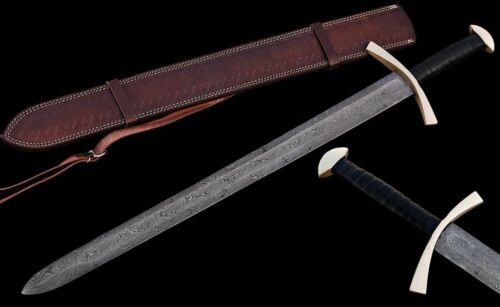 "Custom Handmade Damascus Steel 30.0"" Hunting Sword with Leather Sheath"