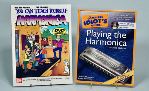 2 Harmonica Instruction Books with 2 CDs Never Used. Self-teaching for Beginners