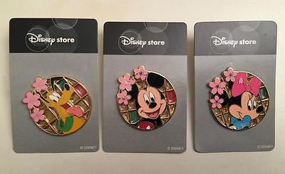 Lot of 3 JDS - 2004 Sakura Cherry Blossom Stained Glass Disney Pins / HTF