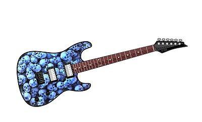 Eléctrico Guitarra Motivo Pila De Azul Skulls Tumba Vinilo Coche Funda Y...