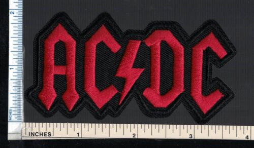 AC/DC (Hard Rock Band) Patch; Classic Red Logo; Embroidered Sew On/Iron On Patch