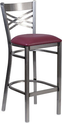 Clear Coated X Back Metal Restaurant Barstool Burgundy Vinyl Seat