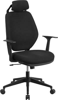 High Back Black Fabric Office Chair With Height Adjustable Headrest